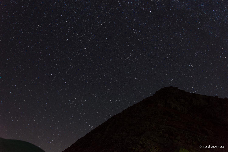 穂高岳山荘から見る満天の星空