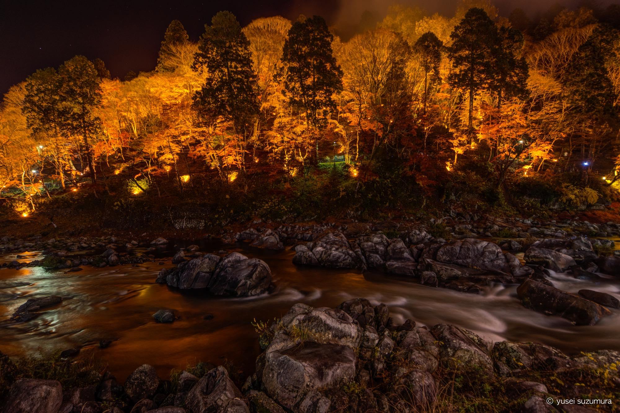 香嵐渓の夜のライトアップ