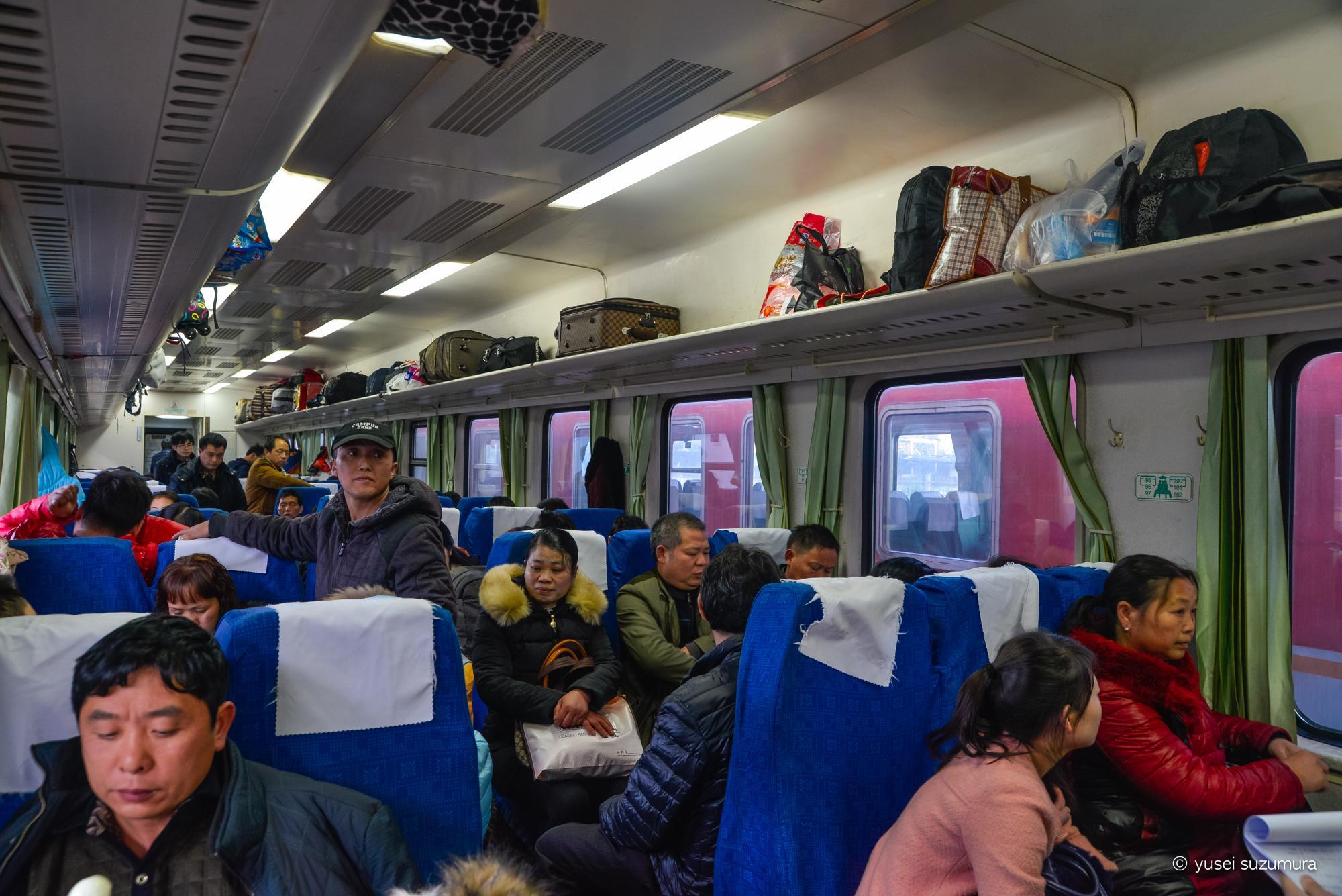 中国 列車の内部