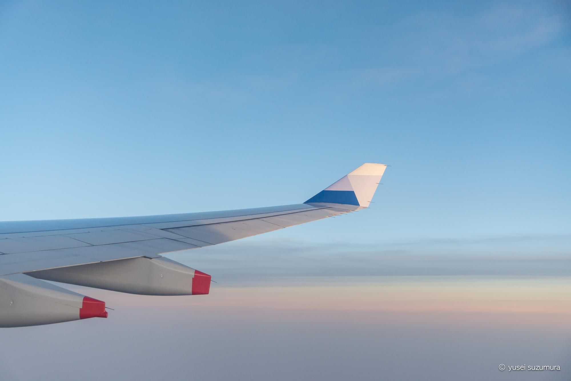 中華航空 夕方 翼