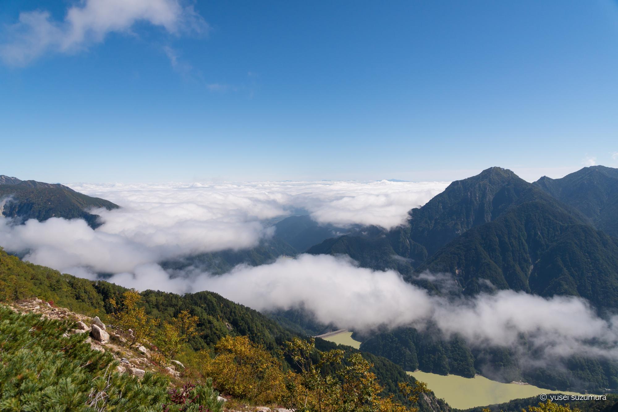 稜線 野口五郎岳 雲