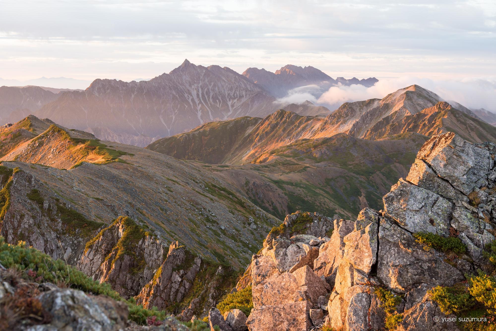 水晶岳 頂上 景色