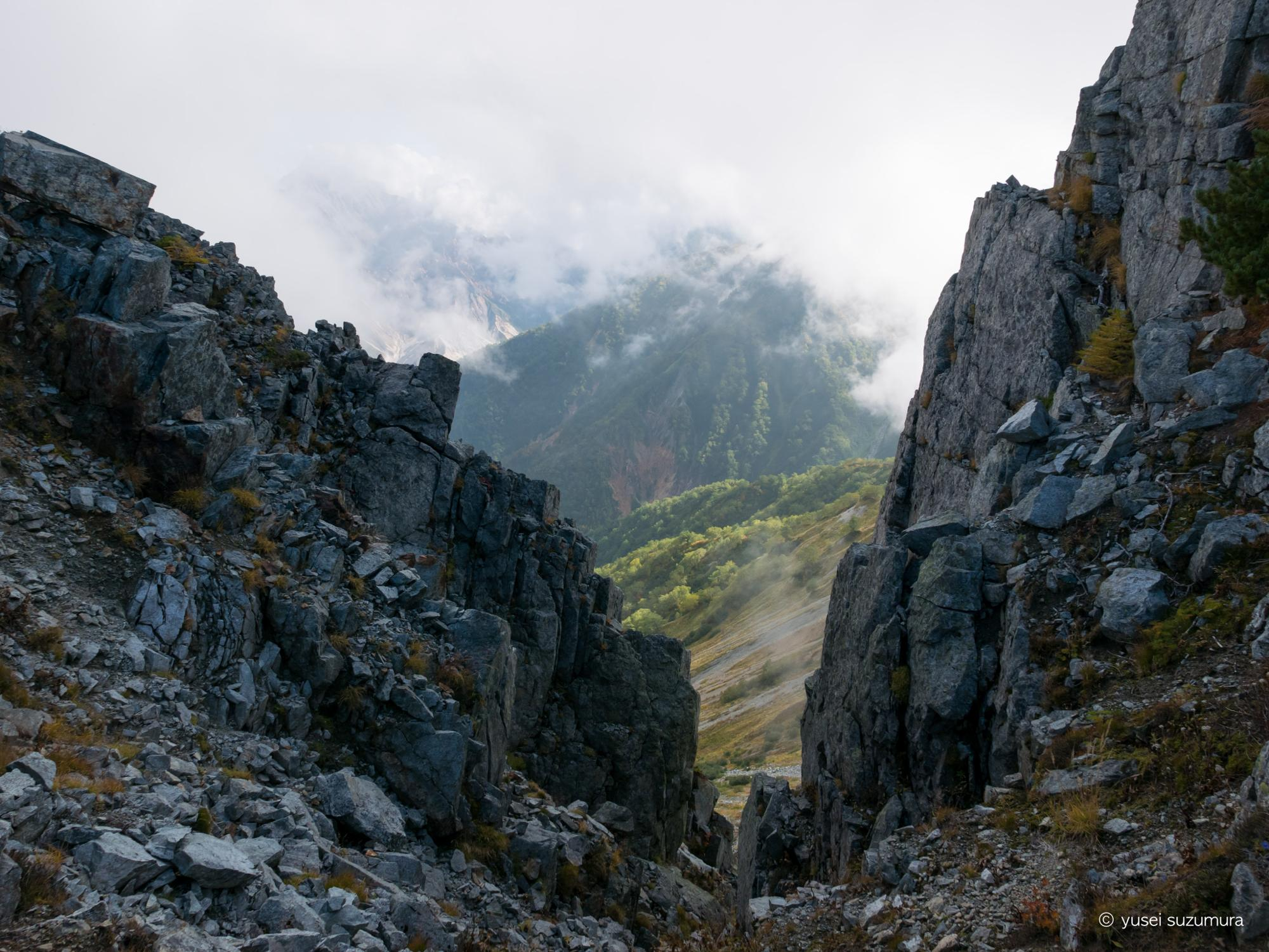 野口五郎から水晶小屋までの稜線