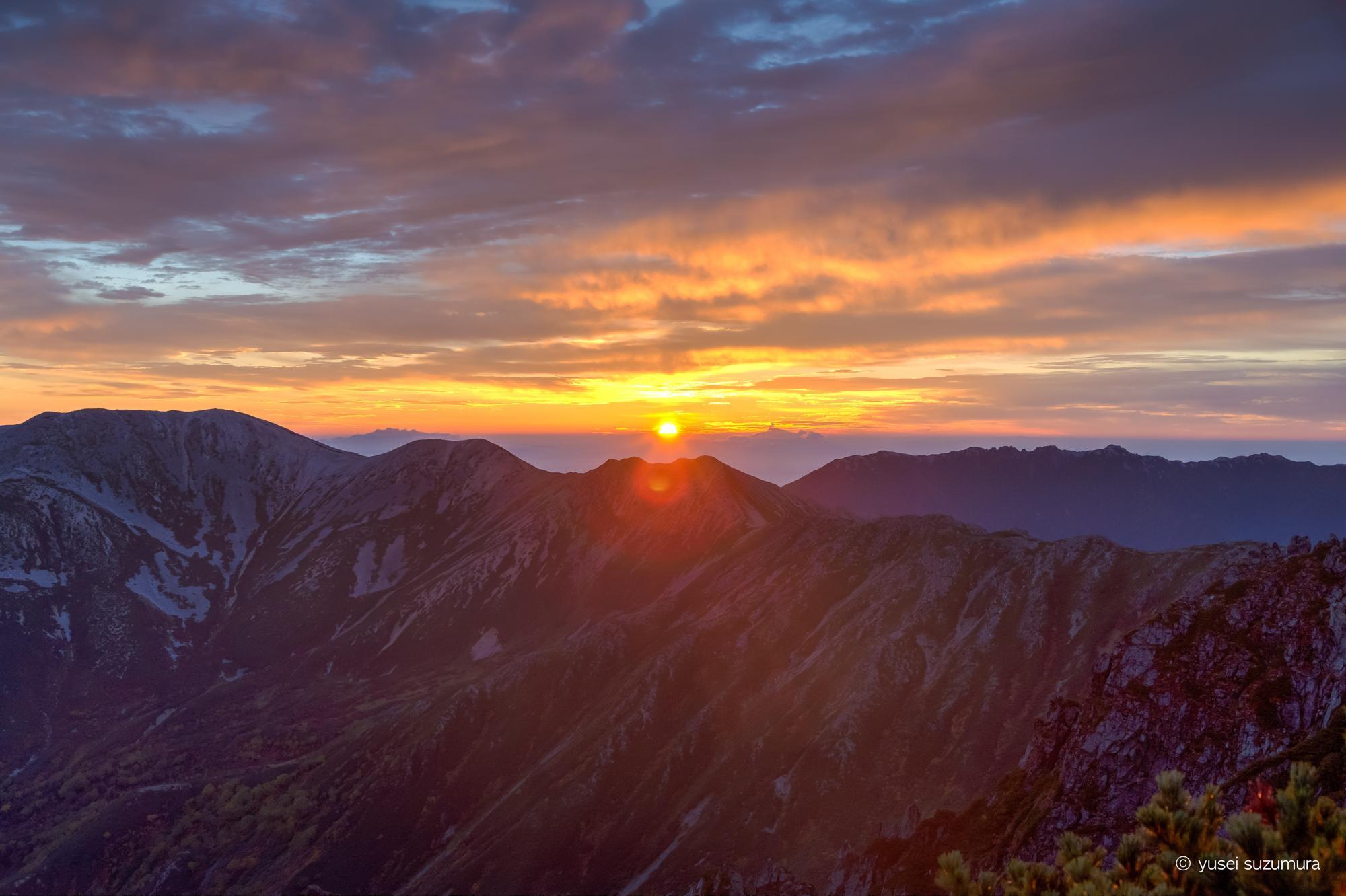 水晶岳 日の出
