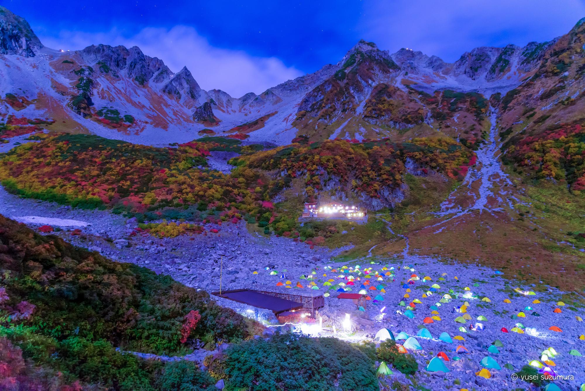 涸沢から北穂高岳へ。そして星空とテントと涸沢の紅葉。