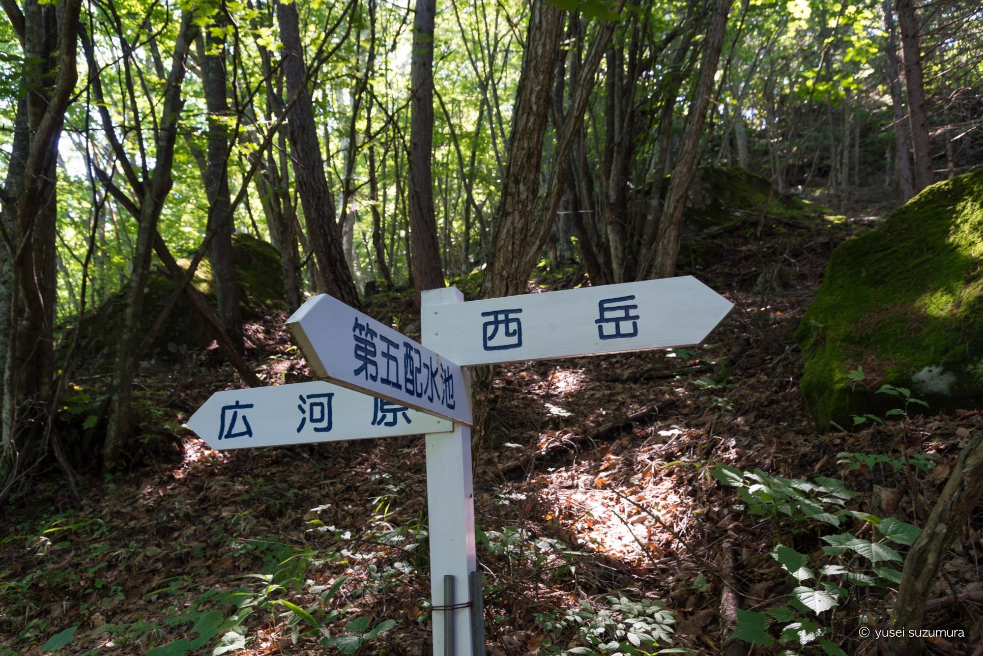 広河原 西岳 標識