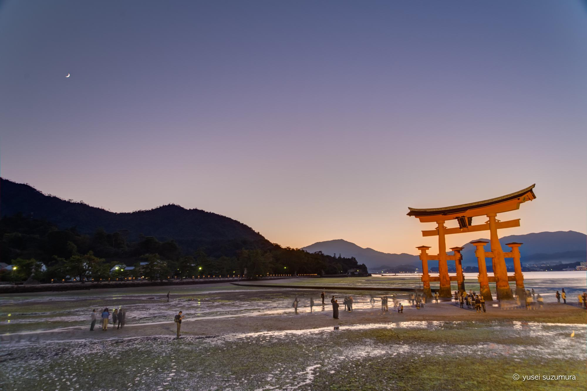 厳島神社 鳥居 夜の訪れ