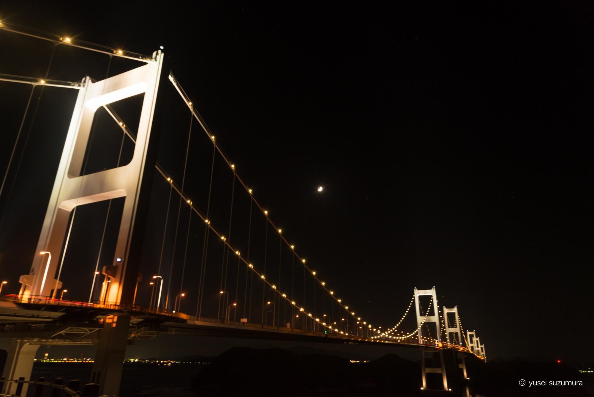 来島海峡大橋 夜 サイクリング