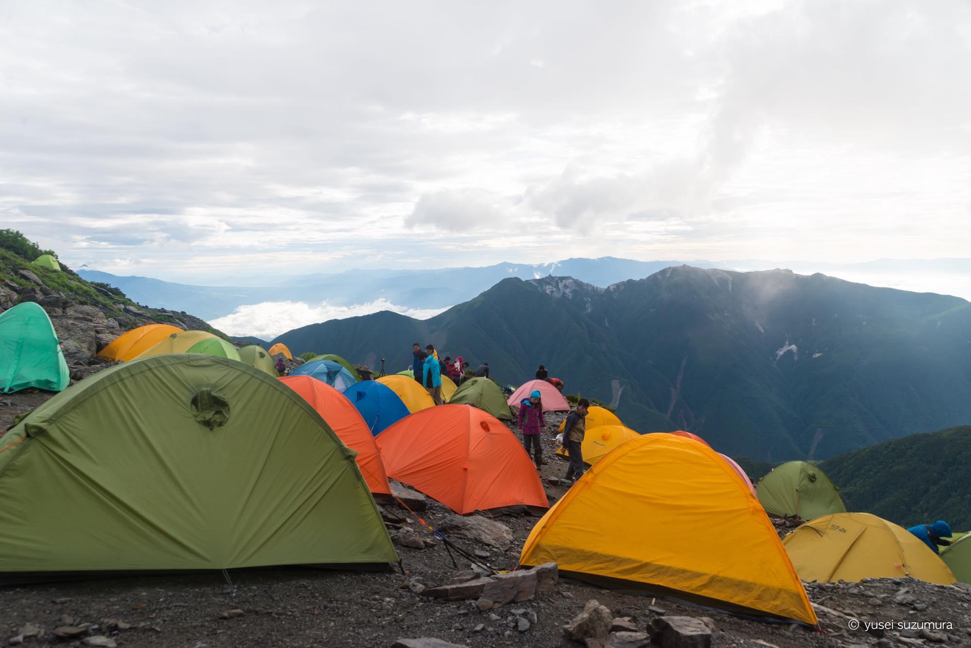 テント設営 肩の小屋