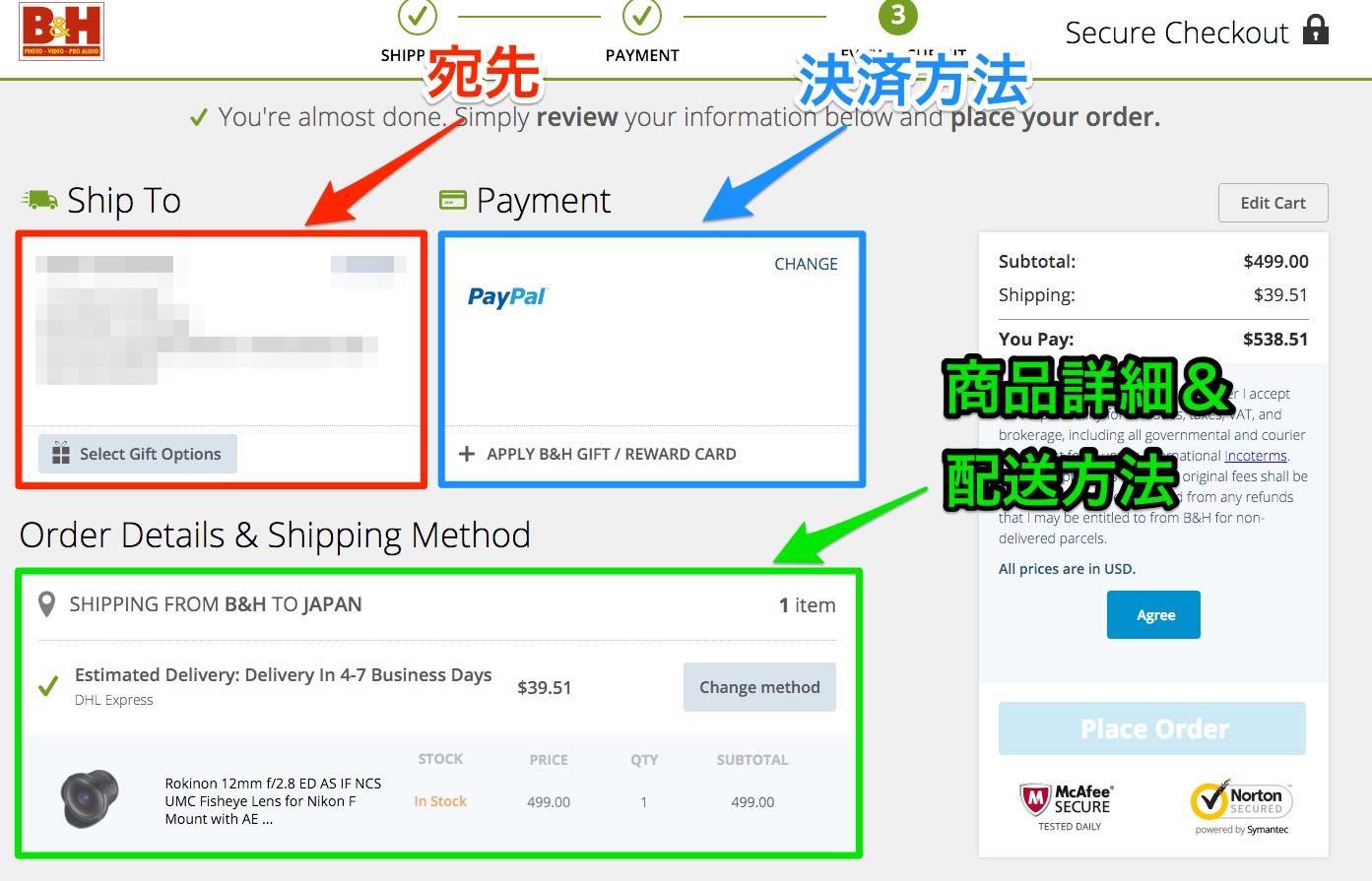 PayPal B&H 決済