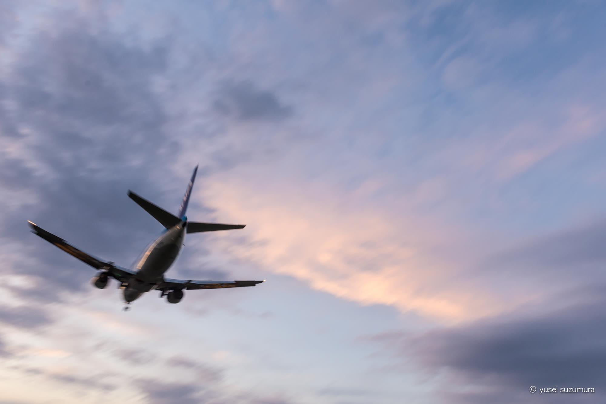 飛行機 夕暮れ 千里川
