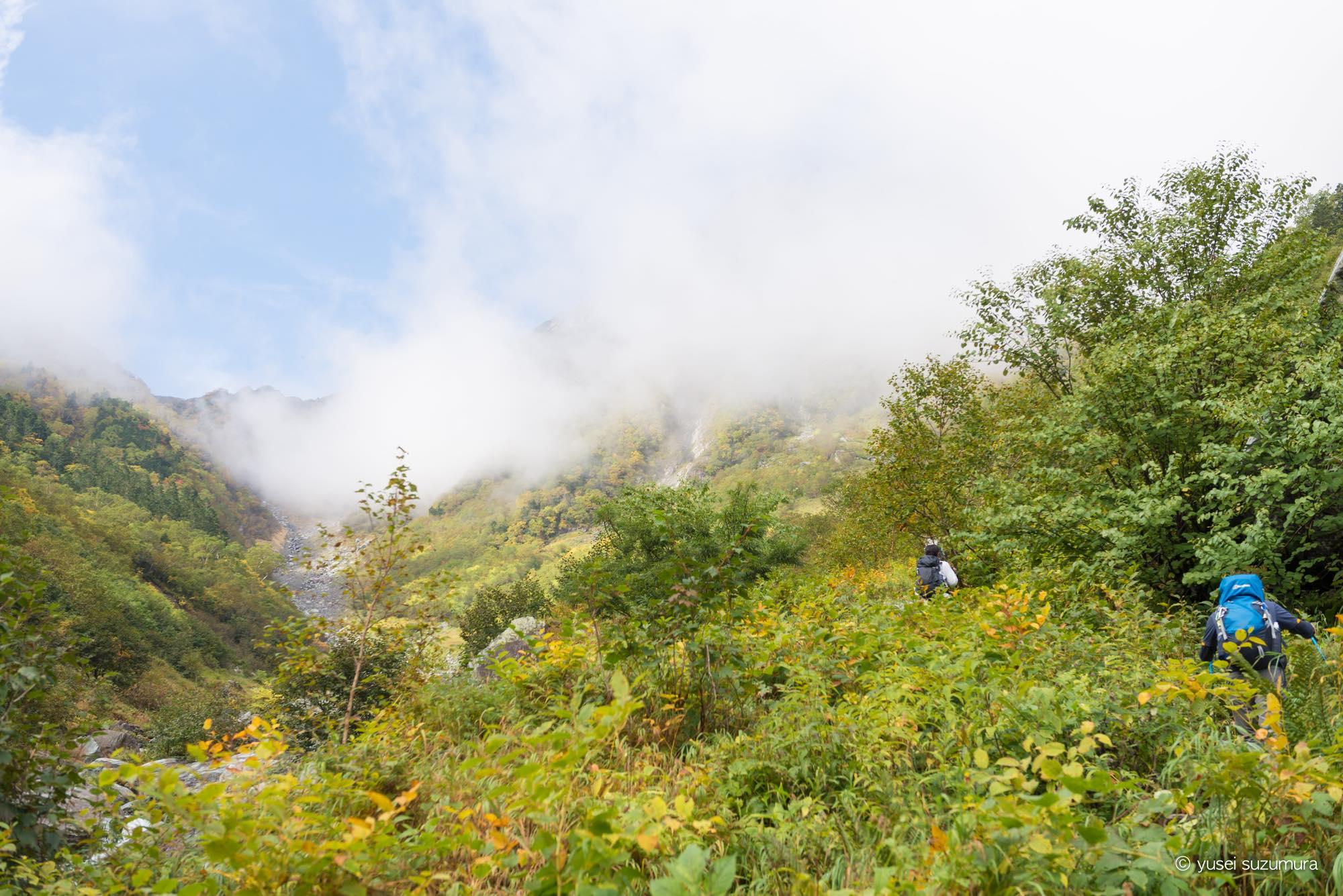 北岳登山道 霧